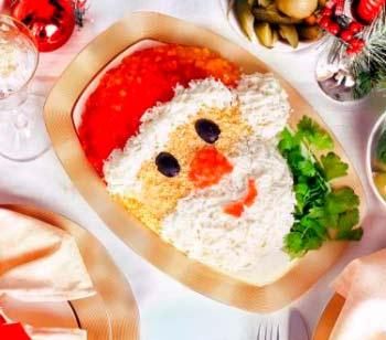 Украшение блюд на новый год 2020 - салат дед мороз