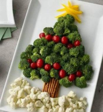 Украшение блюд на новый год идеи - елочка из овощей