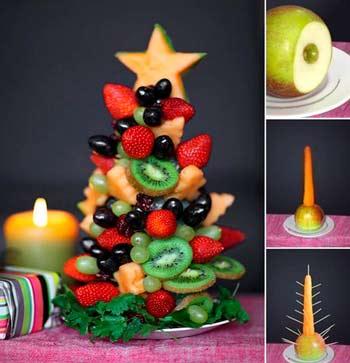 как украсить блюда на новый год 2020 - пример как сделать елочку из фруктов