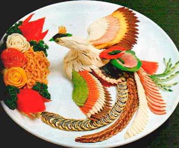 украшение блюд на новый 2020 год фото жар-птица