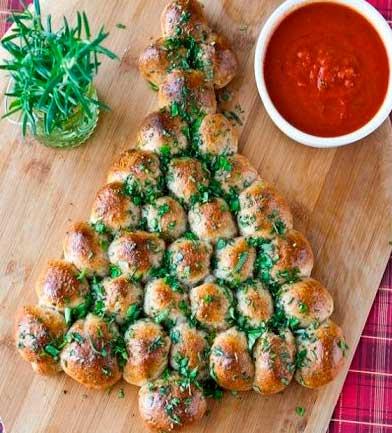 как украсить горячее блюдо на новый год - елочка из мясных шариков
