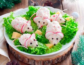 как украсить блюда на новый год крысы - салат с крысками