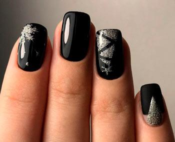 зимний маникюр 2020 короткие ногти фото черный